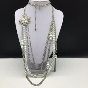 NY&Co Faux Pearl Tassel Clear Rhinestone Necklace